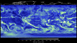 Incoming solar energy reflected back into space by clouds Image courtesy NASA Langley Research Center