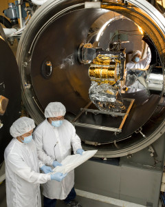 CERES FM5 in the test chamber.  Photo courtesy Northrop Grumman Corporation