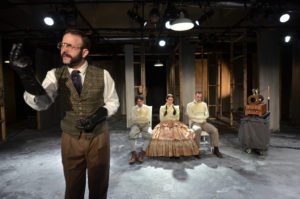 (standing) Thaddeus Shafer as DR. DUCHENNE (seated from left to right) Tyler Bremer as BON-BON, Alexis Jones as FIFI, and Andrew Eldredge as PEPE. Photo courtesy of Andrew Eiden